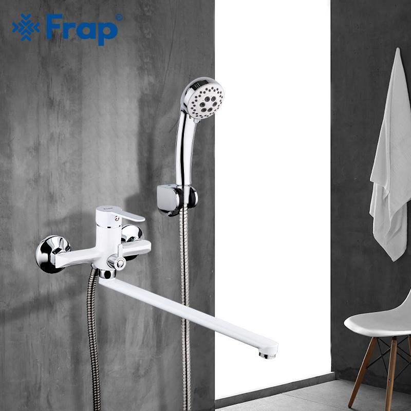 tubo de salida Frap Blanco de baño grifo ducha Bath superficie del cuerpo de latón grifo de la pintura a pistola cabeza de ducha baño grifo 1011