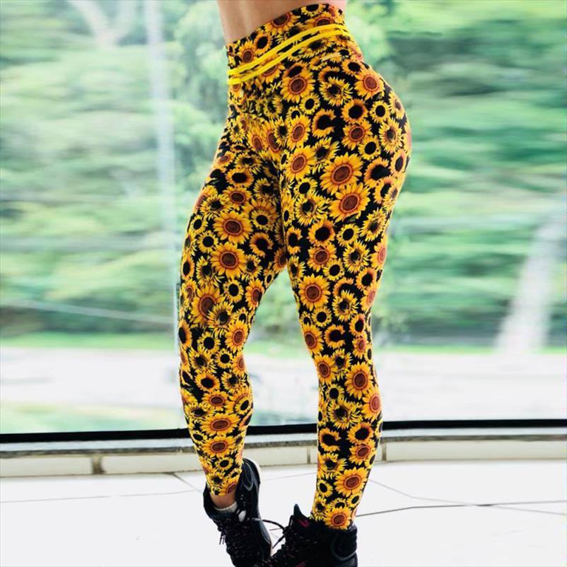 Moda Sunflower Stampa Leggings push allenamento Up Elastic Adventure Time Fitness leggings donne pantaloni a vita alta Bodybuilding
