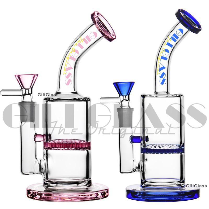 """Heady Glas Bongs DAB Rig Rigar Vattenrör Mini 7,9 """"14mm Man Bowl Pipe Bägare Bong Små Rosa Kvarts Banger Rosa Hookahs Bubbler"""