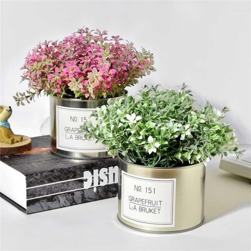 Искусственный любовник трава цветы + железа ваза моделирования поддельных растений Мини бонсай набор для свадьбы дома садовый дом украшения1