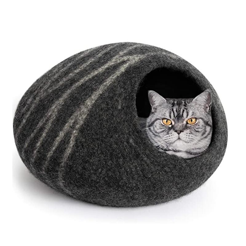 Pet Cat Cave Bed Ecofriendly Wool Felted 100% Natural Merino Wool Nepal Handmade Pod Cat and Kitten Warm and Cozy Bed House