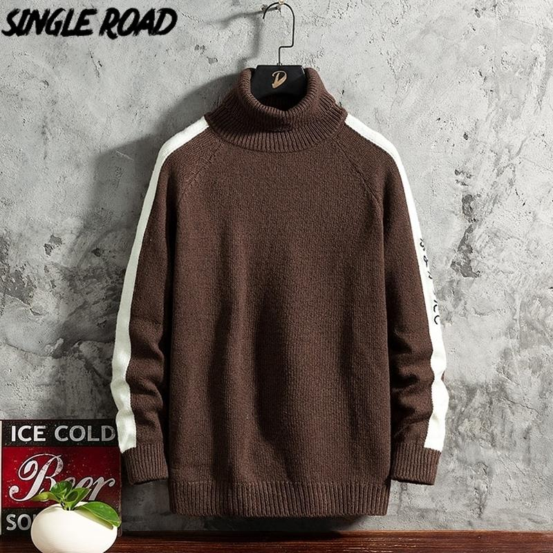Singleroad Mens Turtlenecks Pull Hommes Hiver Côté hiver Sweaters High Collier Harajuku Turtleneck Coffee Pull Hommes 201117