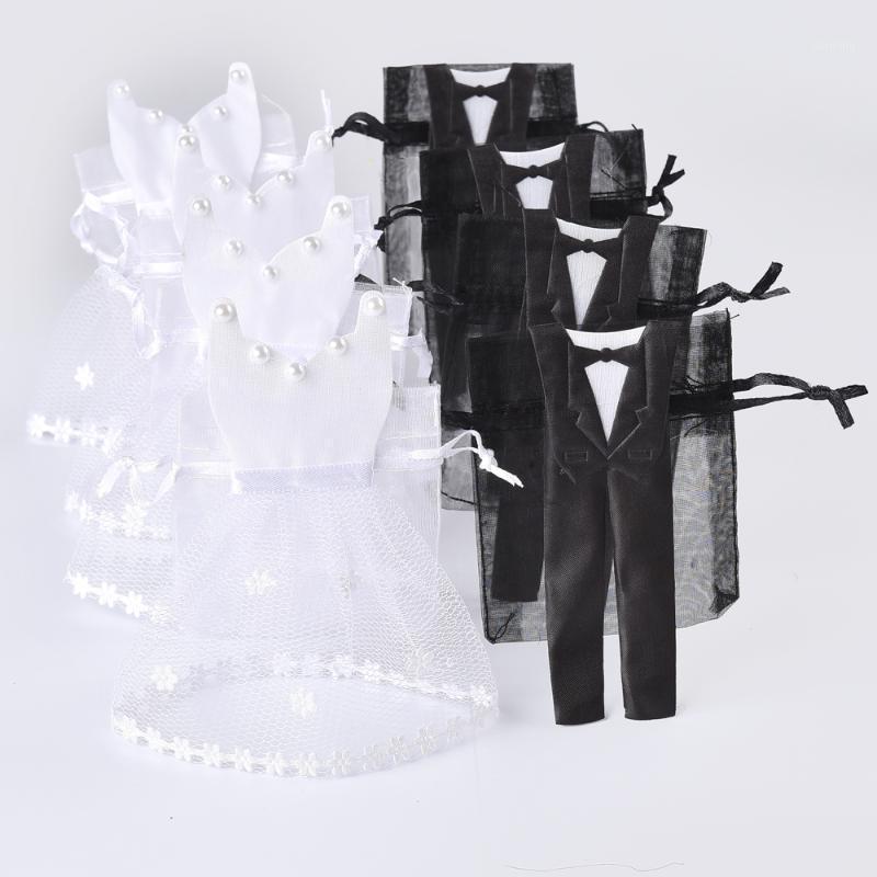 Wholesale- 50 Sets Organza Drawstring Candy Bag 25* Tuxedo & 25* Dress Bride Groom Wedding Favors Party Gift Bag WB061