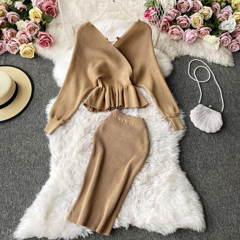SEDUTMO Sonbahar Seksi Triko Etek İki Adet Set Kadınlar Pullarda Örme Üst ve Etek Takım Elbise İnce Elastik V Yaka Temel Set ED1304