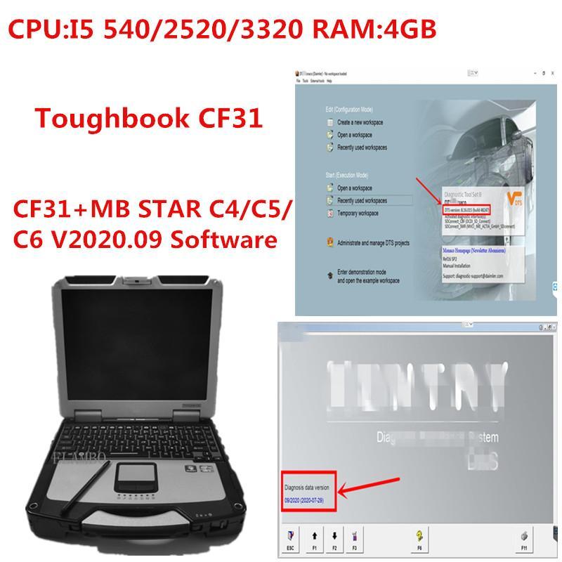 CF31 Toughbook PC 4G i5 ram com MB estrela C4 / C5 / C6 V2020.09 HDD ou SSD de trabalho para a ferramenta de diagnóstico c5 / c4