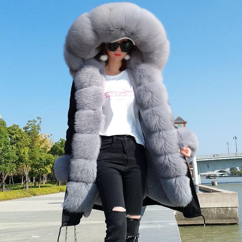 MAOMAOKONG Kış Kadın Doğal Fox Kürk Mont Gerçek Kürk Uzun Siyah Ceket Pamuk Kalın Sıcak Parkas Faux Kürk Astar 201112