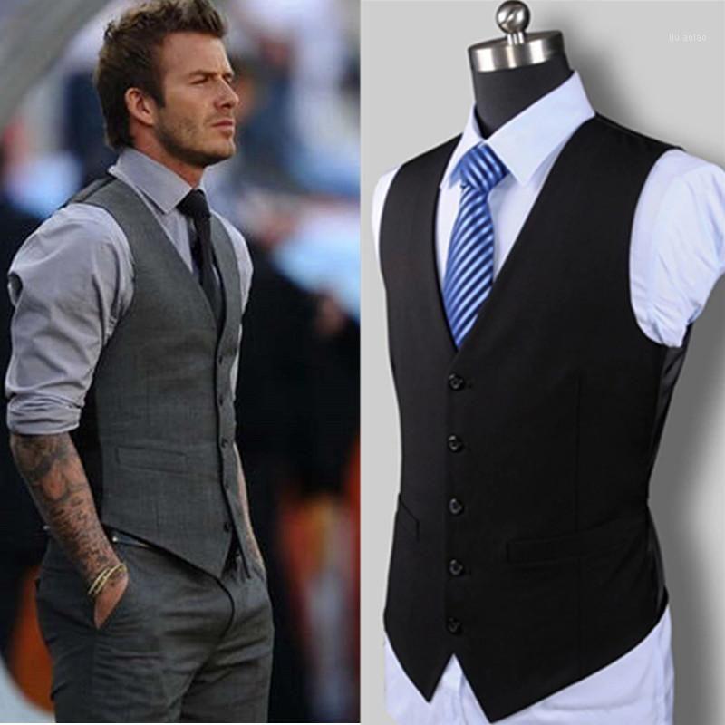 NOUVELLE ROBE DE MARIAGE DE MARCHANDES DE MARCHANDISION de haute qualité Coton Coton Design Costume Vest / Gris Noir Hôtel Homme Homme Entreprise Casual Vest1
