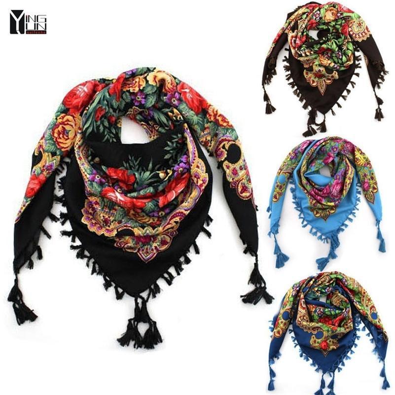 Neue Art und Weise große quadratische Schal gedruckte Frauen-Marke Wraps Hot-Verkaufs-Winter-Dame-Schals Baumwolle india floural Stirnband Y201007