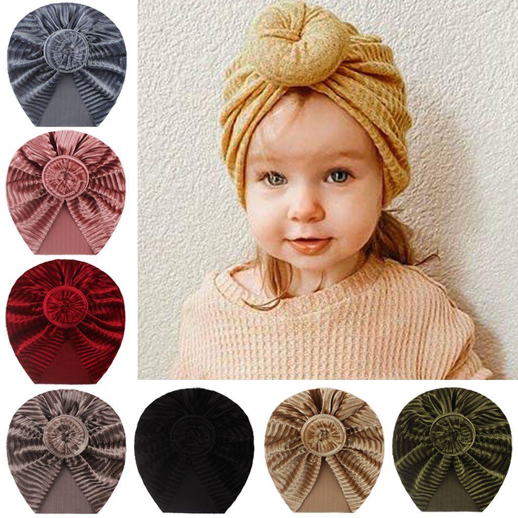 Baby Girl Rayado Dorado Velvet Donut Multicolor Hat Thermal Hat Newborn Snowdler Kids Turban Beanie Cap Headwear