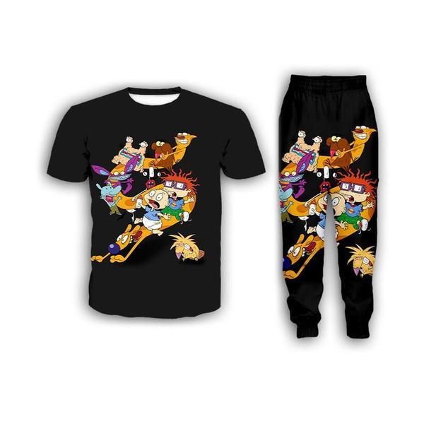 Nuevas mujeres de la manera / para hombre de dibujos animados Rugrats en París divertido 3d camiseta de la impresión de los pantalones / basculador / casusal chándal Establece K16