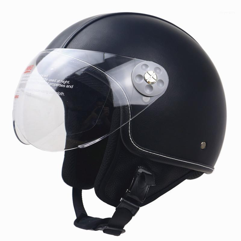 Casco de cuero cubierto de casco DOT ECE aprobado Casco de motocicleta Cuero hecho a mano para adultos ZR-0551