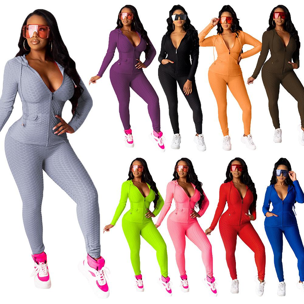 Women Two Piece Tracksuits Fall Fish Scale Solid Zipper Sexy Hoodie Legging Outfits Bodycon Sports Set Autumn Spring Plus Size Clothing 2020