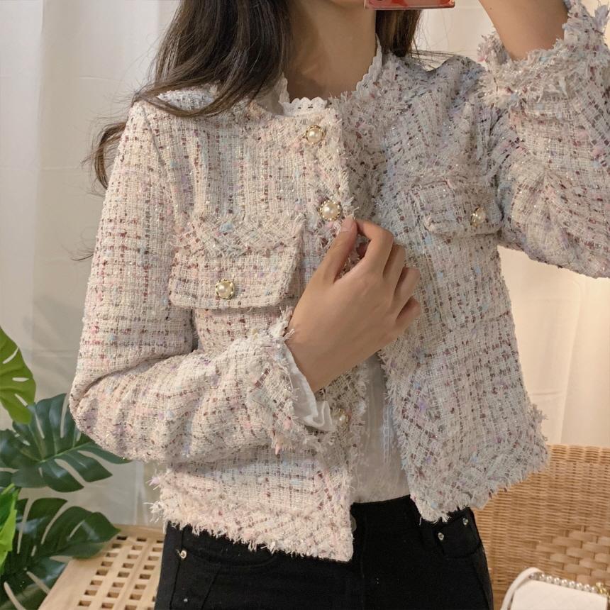 ZAWFL Autunno Inverno Tweed Giacche Donna O-Collo del manicotto lungo allentato Cappotto monopetto Outwear epoca Harajuku 201013