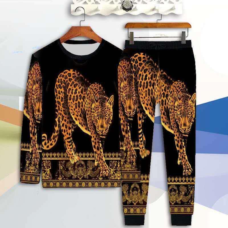 Neuen Männer mittleren Alters und junge Herbst Kleidung Mode 3D-Druck Large Size-langärmliges T-Shirt Hosen Tide Kleidung Lässige Q1110