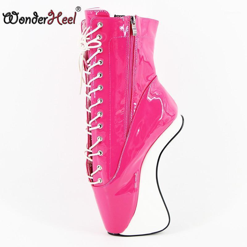 """Wonderheel Bandkle Boots Экстремальная высокая каблука 7 """"Шелепные балетные короткими ботинками Сексуальная фетиш Лейсус Патентная кожаная балета Show1"""