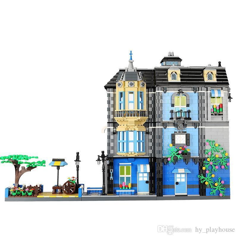 2313 pcs jardin café jouets magasin blocs de construction modèle de bricolage assemblage maison de poupée vue sur la rue ville mini kit jouets ameublement maison 05