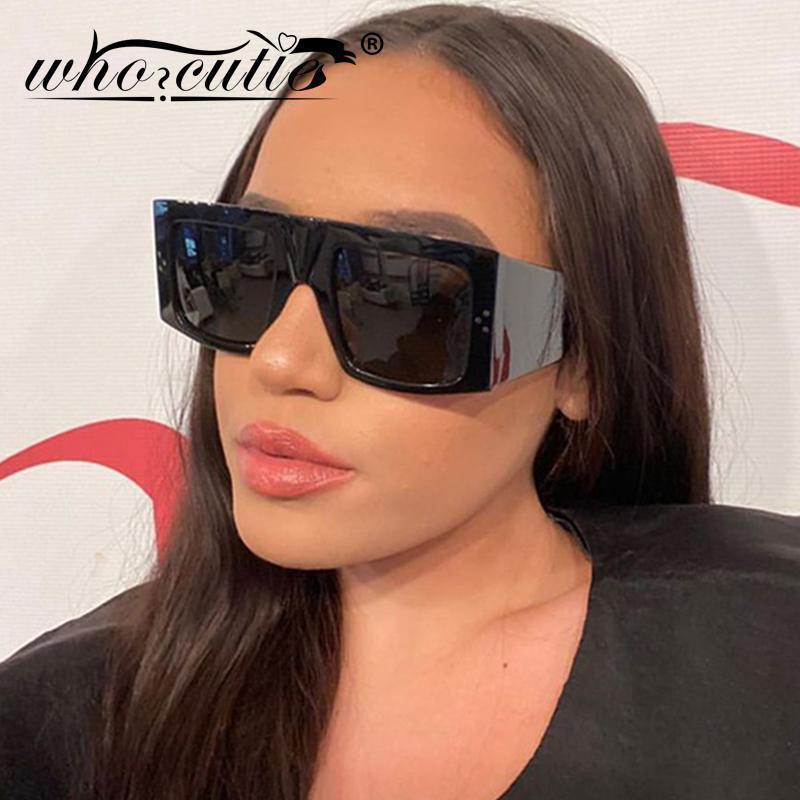 Güneş Gözlüğü Vintage Siyah Kare Kadınlar 2021 Marka Tasarım Perçin Kalın Çerçeve Retro Düz Üst Temizle Lens Güneş Gözlükleri Shades Erkekler S2761