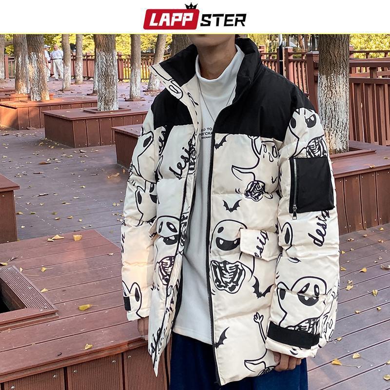 LAPPSTER hommes japonais Streetwear Noir 2020 Veste Hommes Puffer Harajuku Patchwork hiver Bubble Manteaux Homme Fantôme Hip Hop Parka