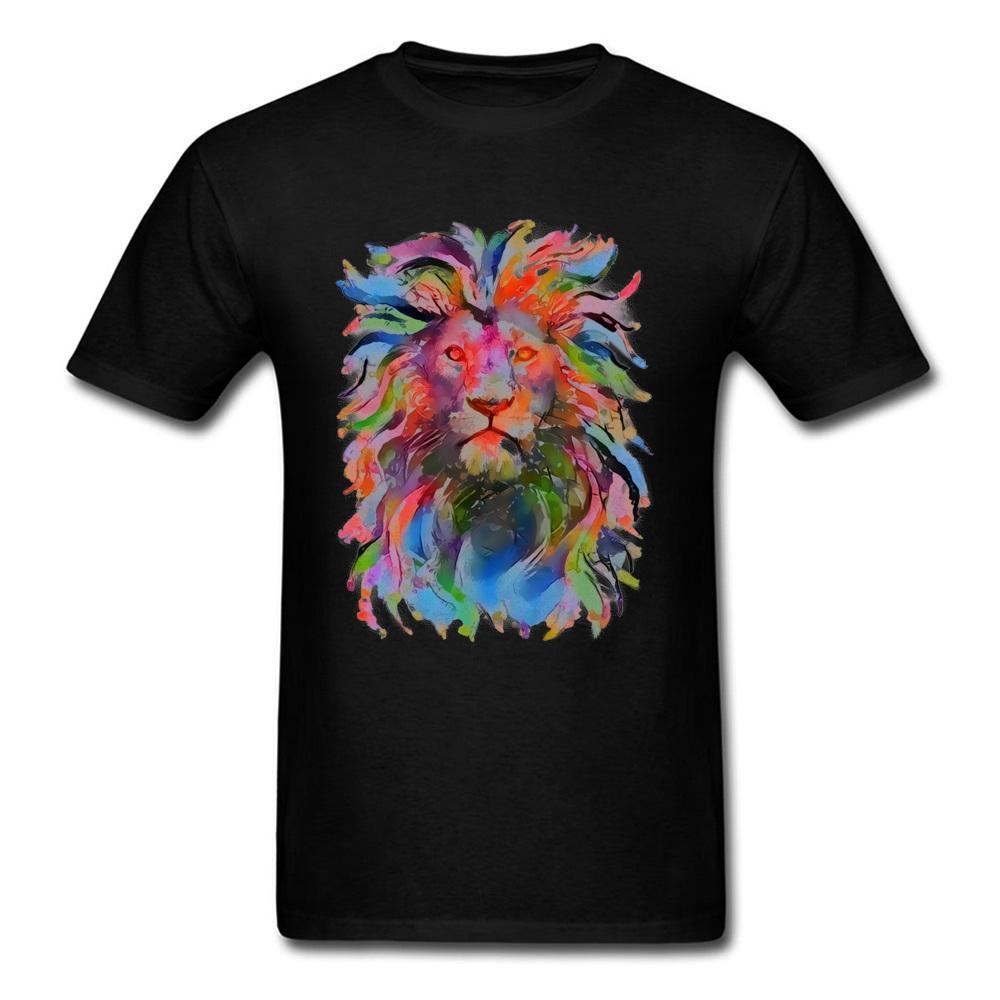 Progettazione leone Art tessuto Mens Camicie Europa Graphic Tee manica corta in abiti sportivi all'ingrosso Felpa con cappuccio Felpa con cappuccio uomini della maglietta