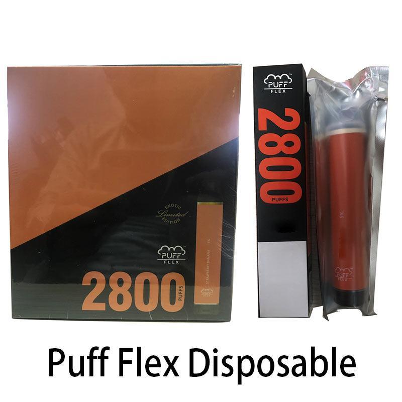 Puff flex 2800 Puffs Bars jetables Vape Pen 1500mAh Batterie 10ml Pods Cartouche Pré-remplie E Cigarettes Vaporisateur Vaporisateur Portable Vapor Kits de vapeur