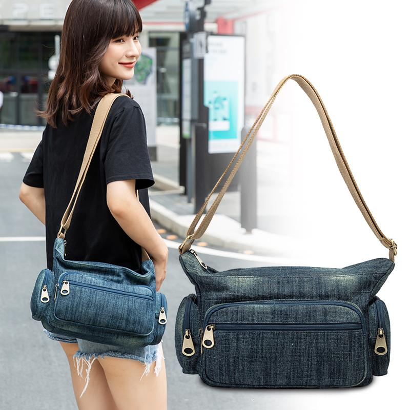 Lässige blaue Frauen Damen Leinwand Crossbody Tasche Mama Bags Schulter Feminina Messenger Qualität Handtaschen Denim Bolsa Reisen Ljusv