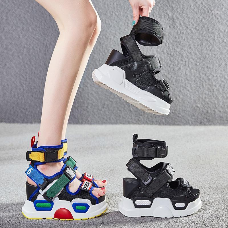 Sandálias de Swonco Chunky Mulheres Sapatos de Verão High Top Barriga Curto Sandálias Plataforma 2019 New Feminino Sexy High Heaving Beach Sandal Shoe1