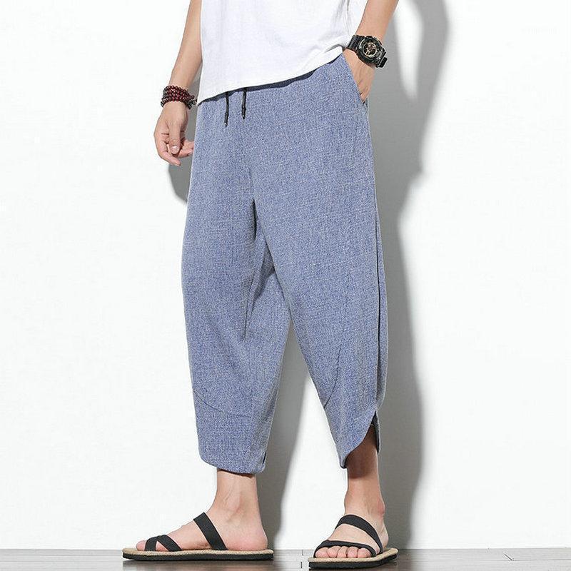 2020 Hommes d'été Harem Pantalons Harem-Longueur Linge de coton Load Wide Habgy Baggy Mens Joggers Pantalon Casual Hommes Pantalons Streetwear1
