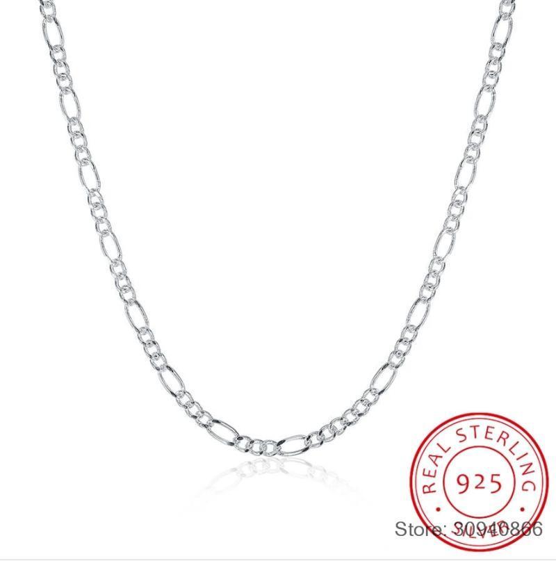 """SMTCAT Sıcak Satış 925 Gümüş 2MM Figaro Zincirler Kolye Güzel Takı 925 Gümüş Figaro Zincir kolye 16 """"-24"""""""