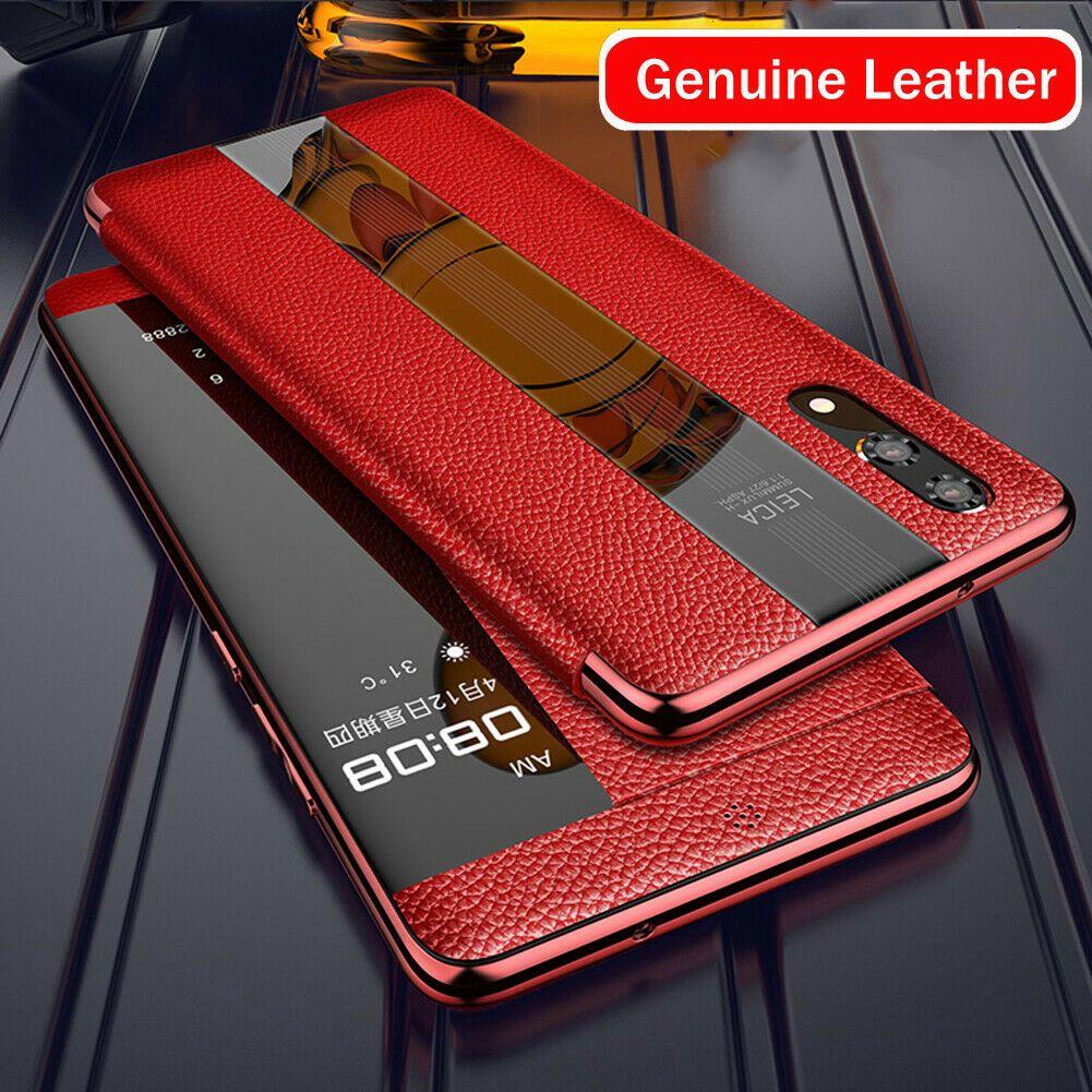 Lüks Hakiki Deri Flip Kılıfları Için Huawei Mate20 P20 P30 Pro Akıllı Dokunmatik Koruyucu Kapak Cep Telefonu Kılıfı Görünüm 360 Koruyucu