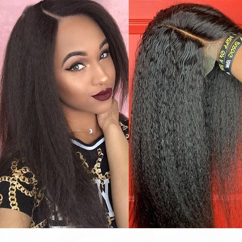 Peluca recta 4x4 13x4 Frente de encaje Pelucas de cabello humano Fueres completos para mujeres arrancadas Baby Hair Brasil Italiano Yaki Wig