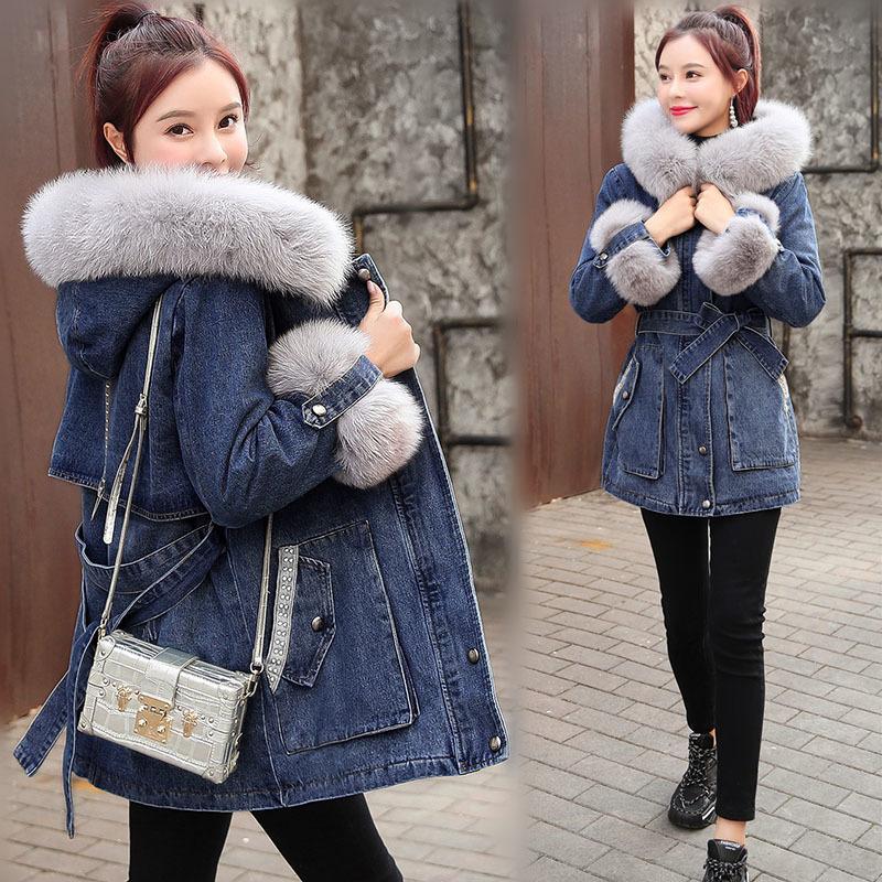 Inverno nuova delle donne di agnello del cashmere di spessore Giacca di jeans allentato caldo cappotto casuale incappucciato coreano femminile Jean Outerwear Top R457 201014