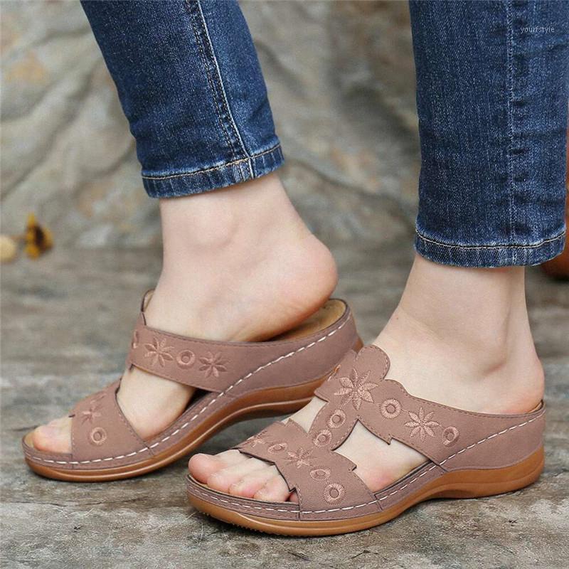 Sommer Damen Mode Open-Toe Blume Gestickte Sandalen Frauen Freizeitschuhe mit offenen Zehenschuhen1