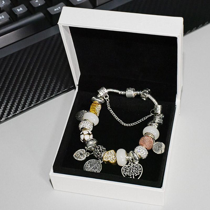 925 Arbre plaqué Arbre de vie Pendentif Charms Bracelet Ensemble Boîte Pour Chaîne Snake Chaîne Bricolage Charme Bracelets pour Femmes Filles