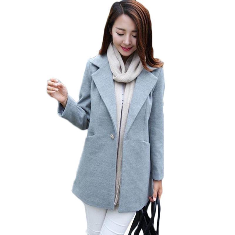 2021 otoño Nuevas mujeres de lana coreana Long Long Slim Costiting Wool Coat Casual de mujer Cuello Cuello de un solo pecho E061