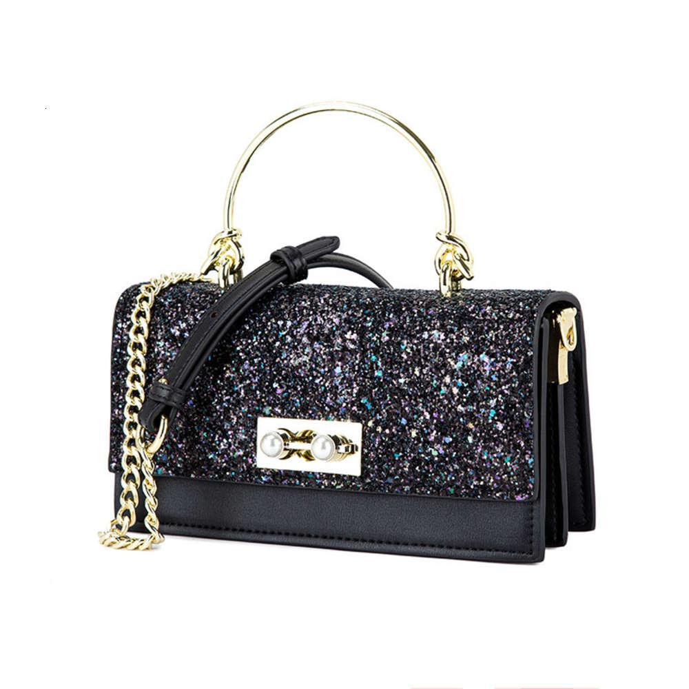 Diseñadores de lujo Bolso de mujer 2021 New Fashion Pearl Lock Solid Color Small Cuadrado Coreano Cross Link Cadena Bag