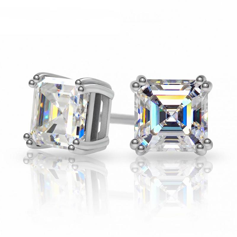 Aiyanishi Total 1.6ct EF Asscher Diamond Test Passado Moissanite 18k Branco banhado a ouro 925 prata brinco jóias presente de natal