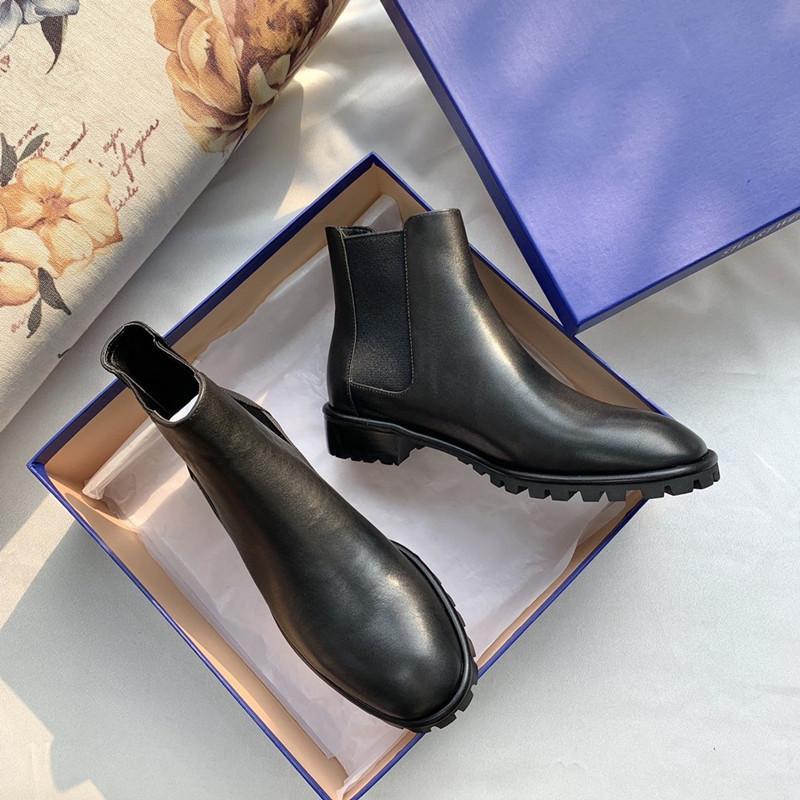 Sonbahar ve Kış Moda Basit Bayanlar Kısa Çizme Retro Klasik Deri Üretim Rahat Moda Boots 35-39 ST Çizme