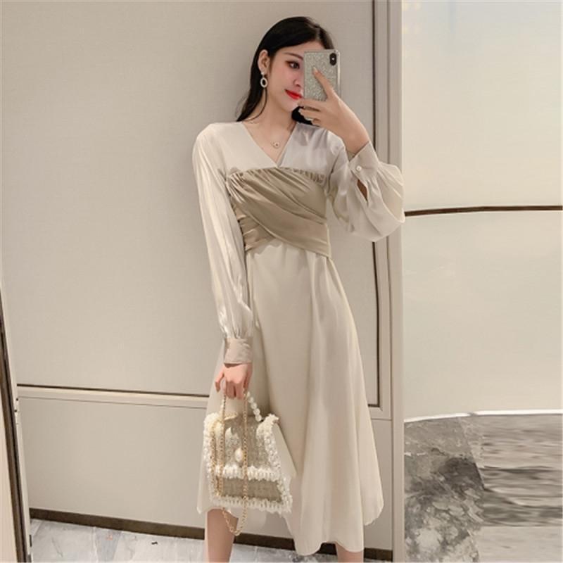 Vestido de manga larga femenina de primavera coreana nueva moda temperamento v-cuello largo falso vestido de costura de dos piezas 201204