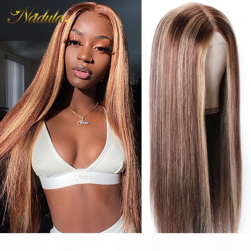 Yeni 4x4 Sahte Kafa Dantel Parçası Peruk Ön Poplu Düz İnsan Saç Dantel Peruk Highlight Bal Sarışın Ombre Renk Düz Saç