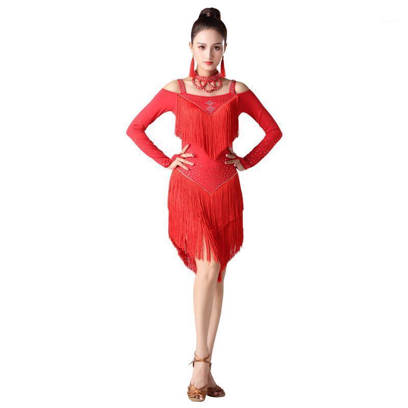 Sahne Giymek Latin Dans Elbise Kadın / Kız Bayan Seksi Saçak Salsa Balo Salonu Tango Rumba Samba Dans1 için Elbiseler1