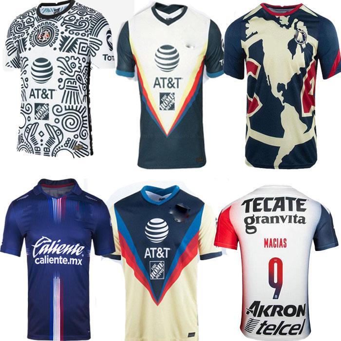 Novo 20 21 Club América Futebol Jerseys 2020 2021 Home Away Terceiro Treinamento Tigres Chivas de Guadalajara Kit Camisas de Futebol Camisa de Futebol