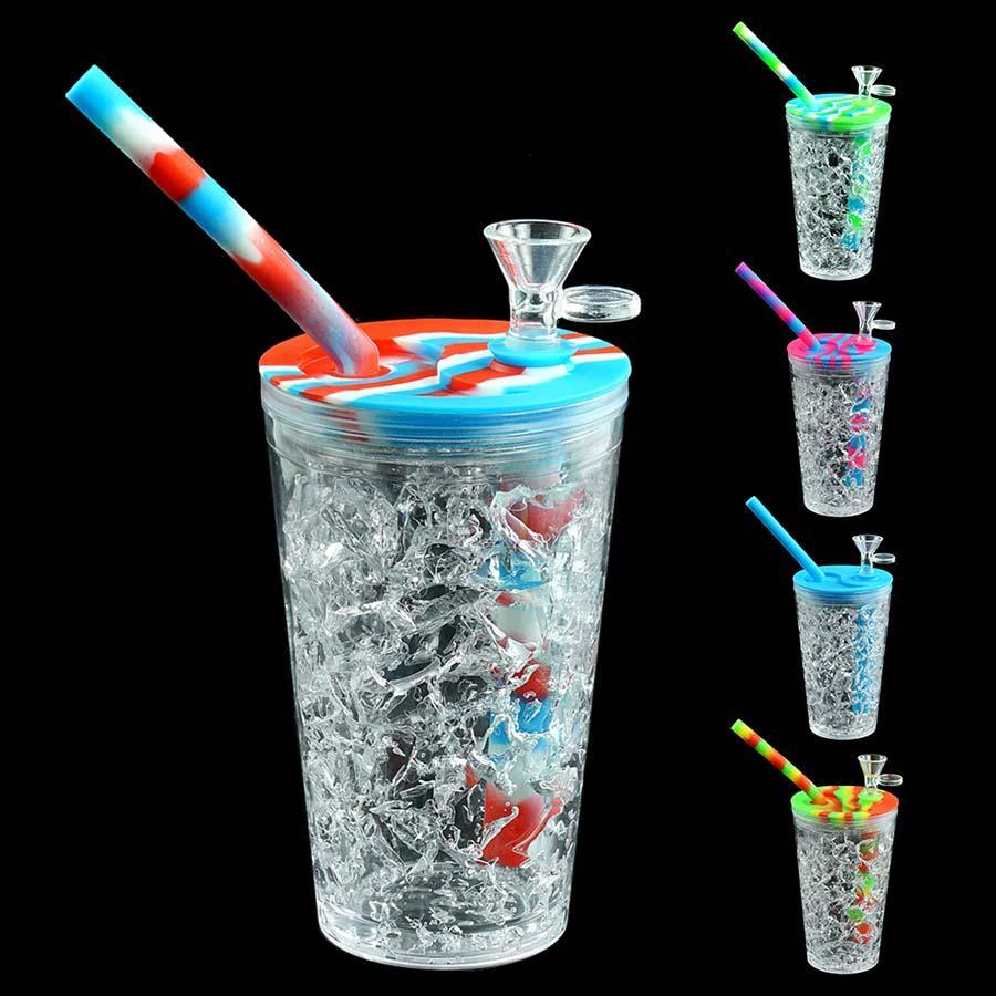 여름 스타일 음료 컵 물 파이프 실리콘 Dab 조작 유리 오일 장비 허브 버블 러 유리 그릇 실리콘 봉 미니 파이프 리사이클 러 물 담뱃대 157mm * 68m