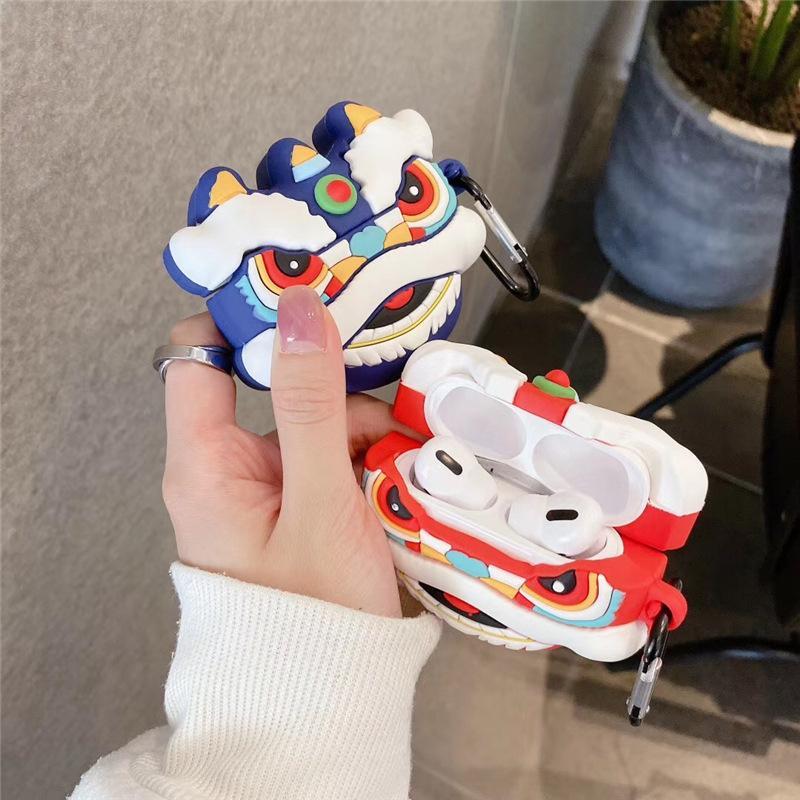 Dancing Lion 3D para Airpod Pro Case Funda para auriculares Cubierta de protección para auriculares para AirPods 2 Caja Divertida Auricular Caja de carga Capa