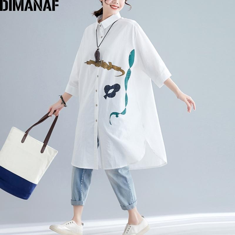 Dimanaf Plus Размер Женщины Блузка Рубашки Большой Размер Свободная Леди Топы Туника Принт Повседневная Летняя Женская Одежда Длинные Рубашка Платье Y200622