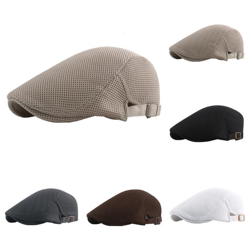 2020 malha Cap Verão Boinas Hat oco Out Cap Sunhat Casual respirável Chapéus Beret cor sólida Caps venda quente