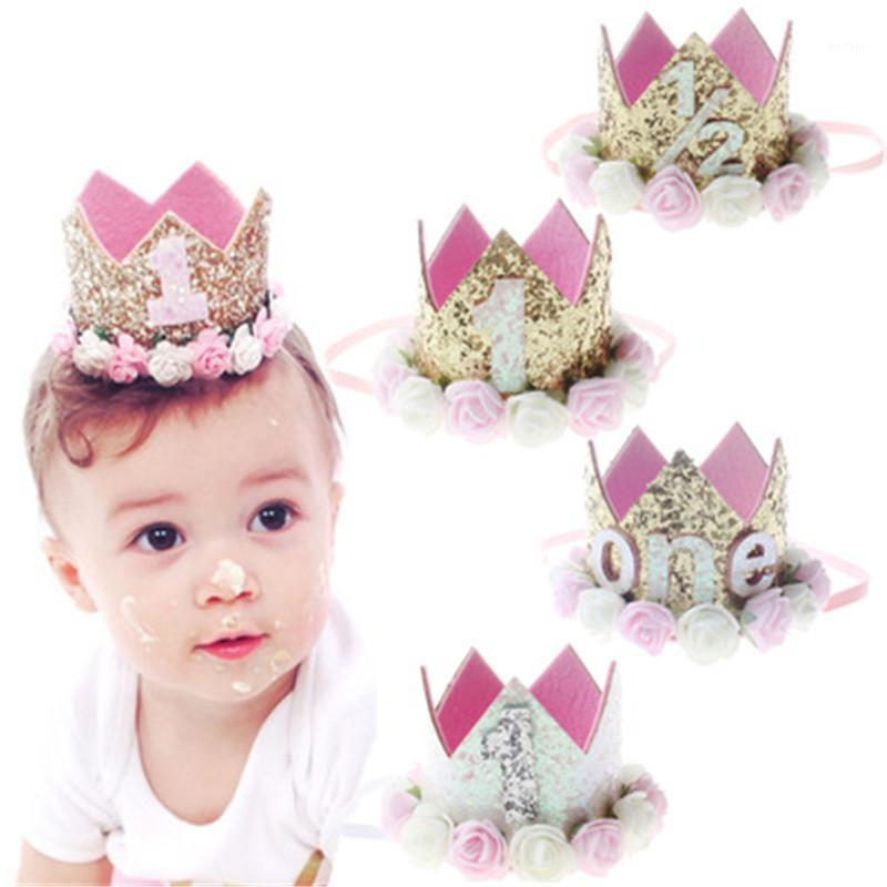1Pcs Baby Girl First Birthday Party Hat Gifts Hairband Princess Queen Crown Lace Hair Band Elastic Head Wear Hat Decorations1