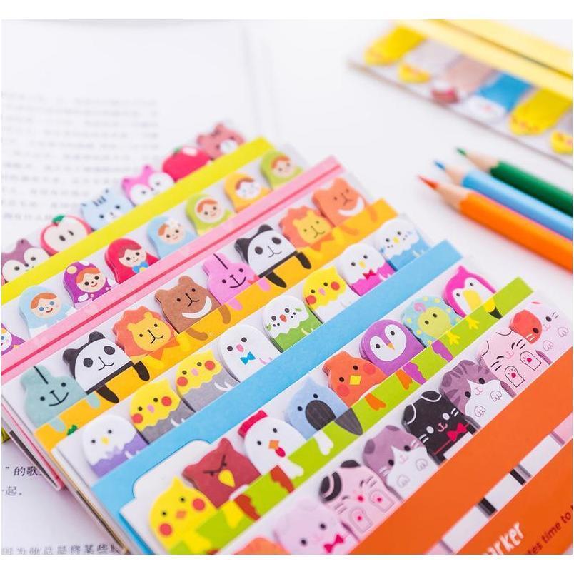 Kawaii Memo Pad Bookmarks Criativo Cute Animal Sticky Notes Índice Postado TI Planner Papelaria Suprimentos Escolar Adesivos de Papel CPPXY