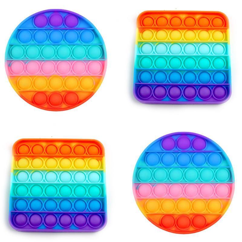 Rainbow Fidget Pop It Brinquedos Sensory Push Pop Bubble Toy Autismo Precisa Especial Necessidades de Ansiedade Relisor para Estudantes Trabalhadores de Escritórios FY4381