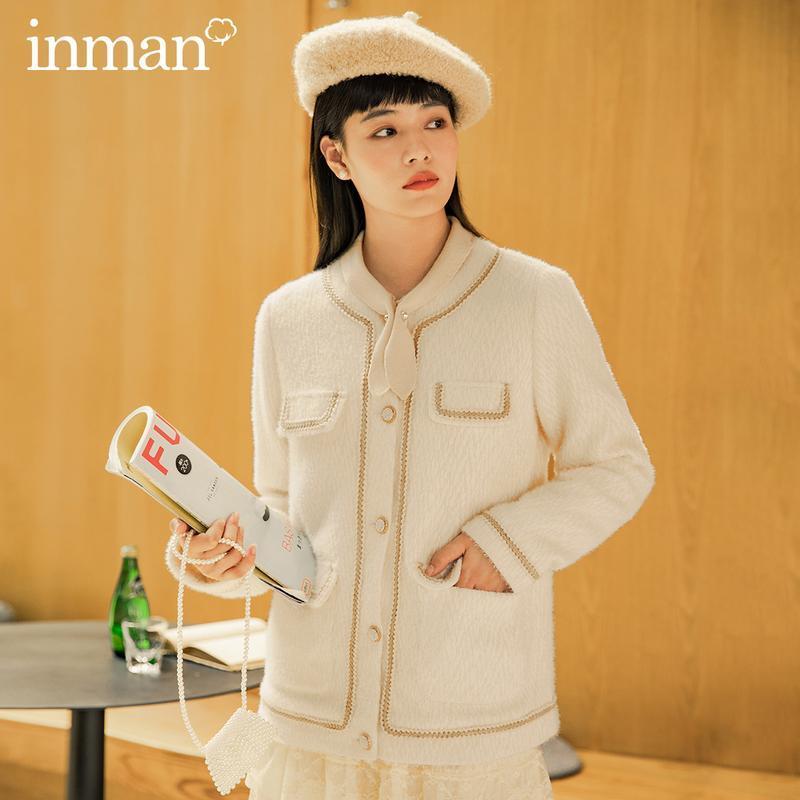Chaquetas de mujer Inman 2021 Otoño Invierno Llegada Tejido Twist Jacquard Contraste Metal-Botón de manga larga Abrigo de lana