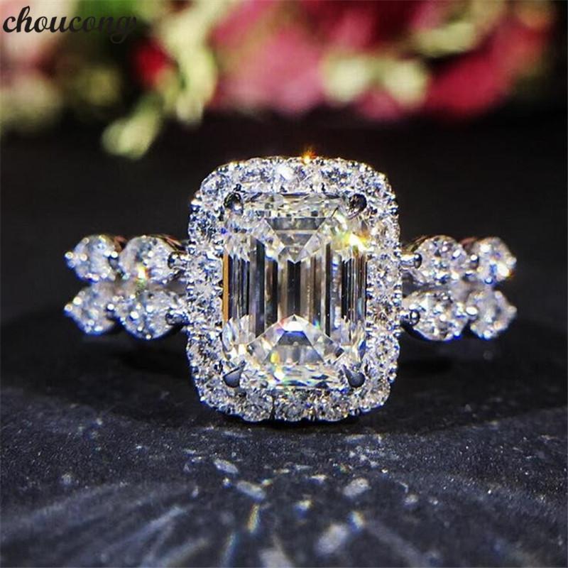 Vecalon Funkelnder Versprechen Ring 925 Sterling Silber 2ct Diamant Engagement Hochzeit Band Ringe Für Frauen Party Schmuck
